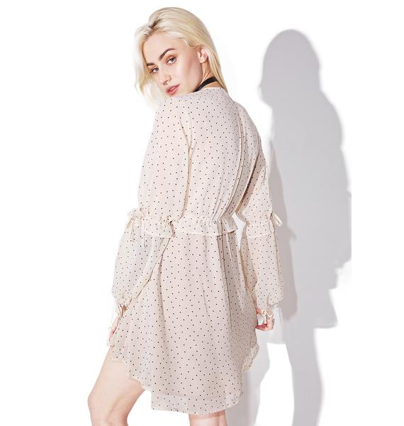 For Love & Lemons Creme Dot Truffles A-Line Dress