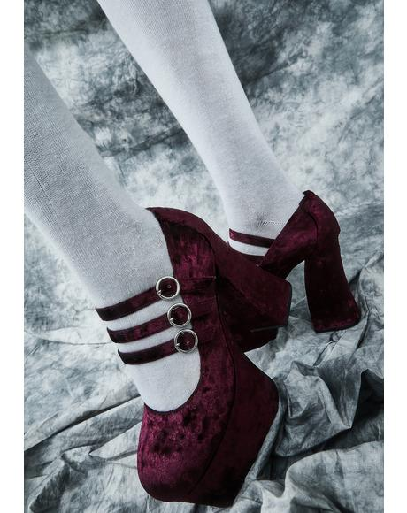 Swish And Flick Velvet Mary Janes