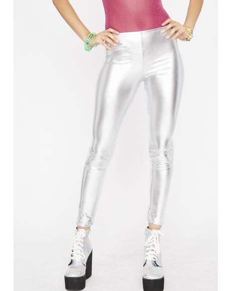 Chrome Werk It Out Metallic Leggings