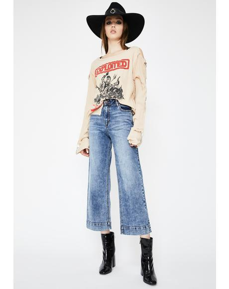 Medium Wash Nori Wide Leg Denim Jeans