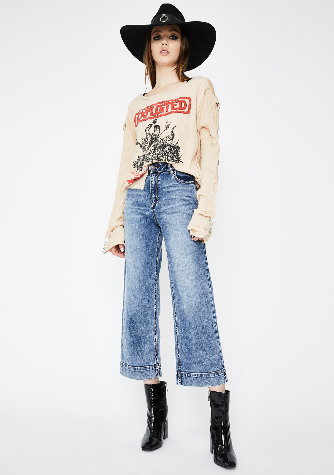 Hidden Denim Medium Wash Nori Wide Leg Denim Jeans