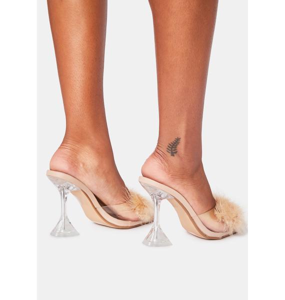 Nude Champagne Life Marabou Heels