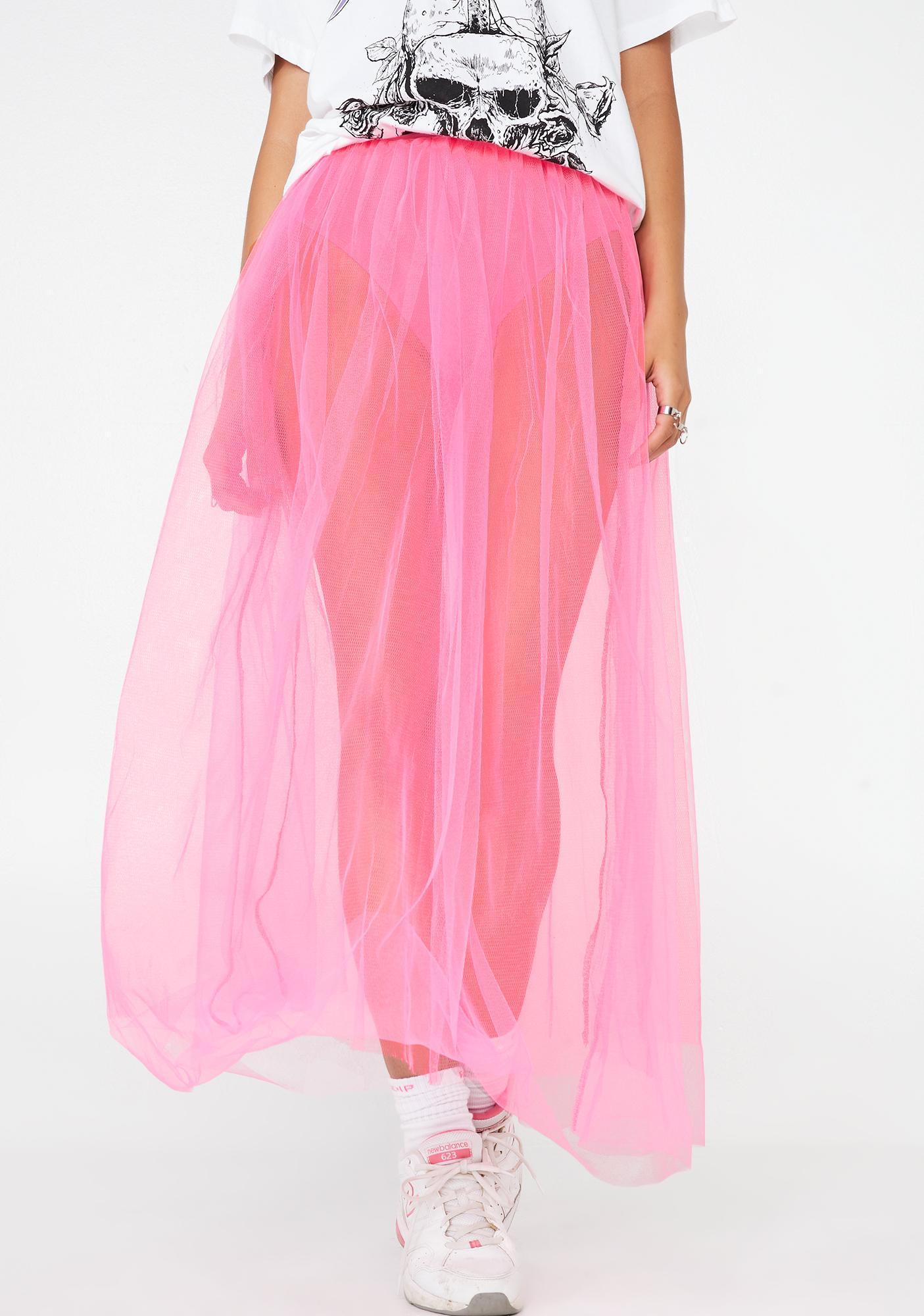 ddfee0d279 Neon Pink Sheer Tulle Maxi Skirt | Dolls Kill