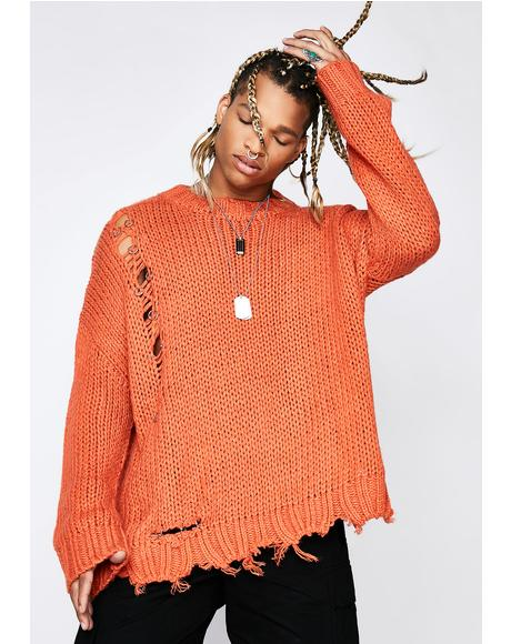 Distressed Frayed Knit Sweater | Dolls Kill