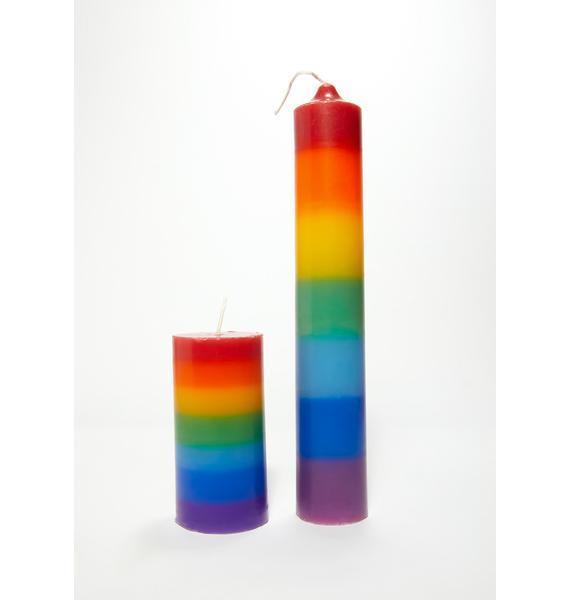 Rainbow Stripe Candles Set