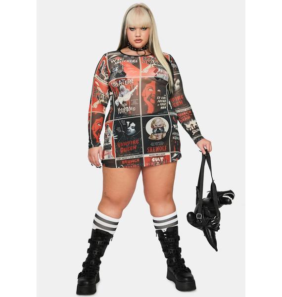 Dolls Kill Real Fears On Film Mesh Dress