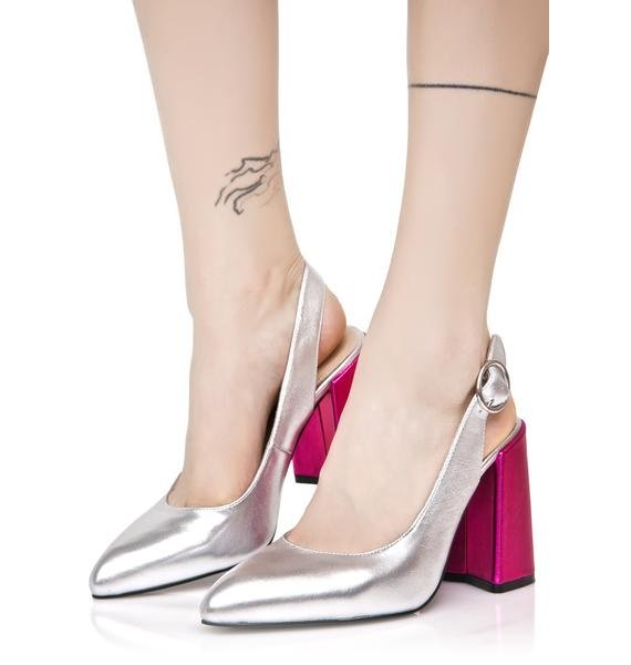 Shellys London Metallic Chester Kitten Heels