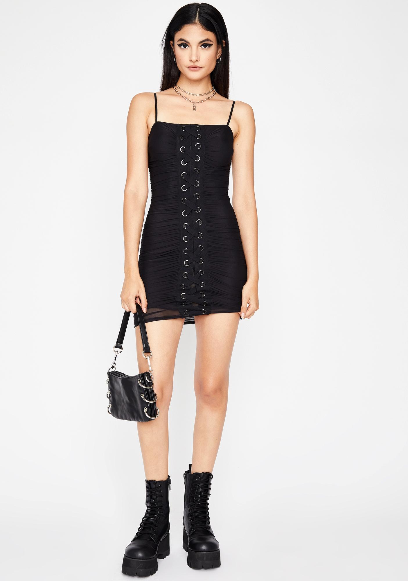 Diabolical Diva Lace Up Dress