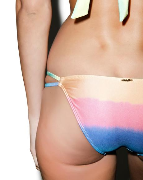 Mermaid Pastel Tie Dye Split String Bottom
