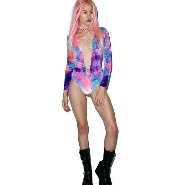 J Valentine Ultraviolet Lace-Up Bodysuit