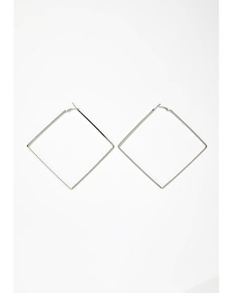 Square Root Hoop Earrings