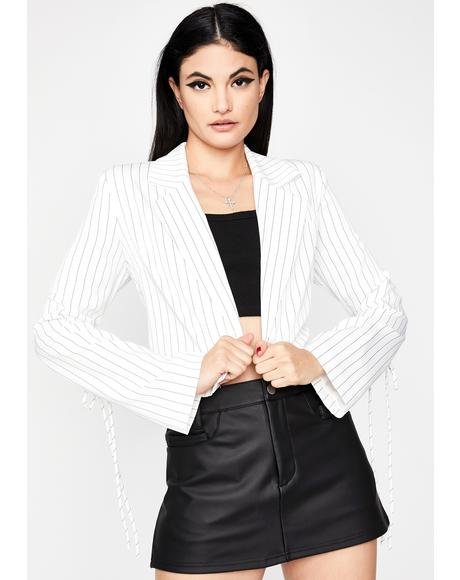 White Double Jeopardy Pinstripe Blazer