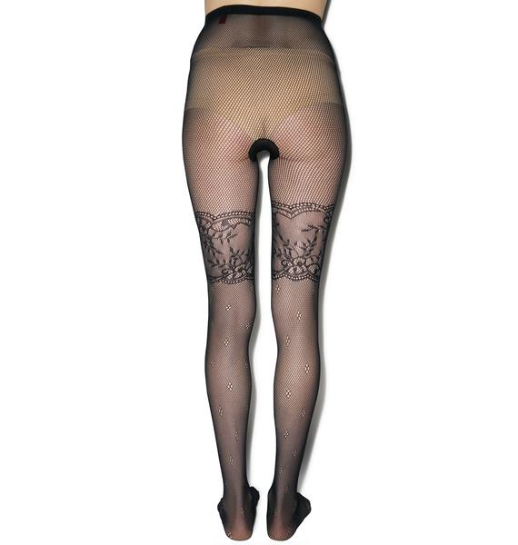 Pretty Polly Pretty Polly x Alice & Olivia Lace Fishnet Tights