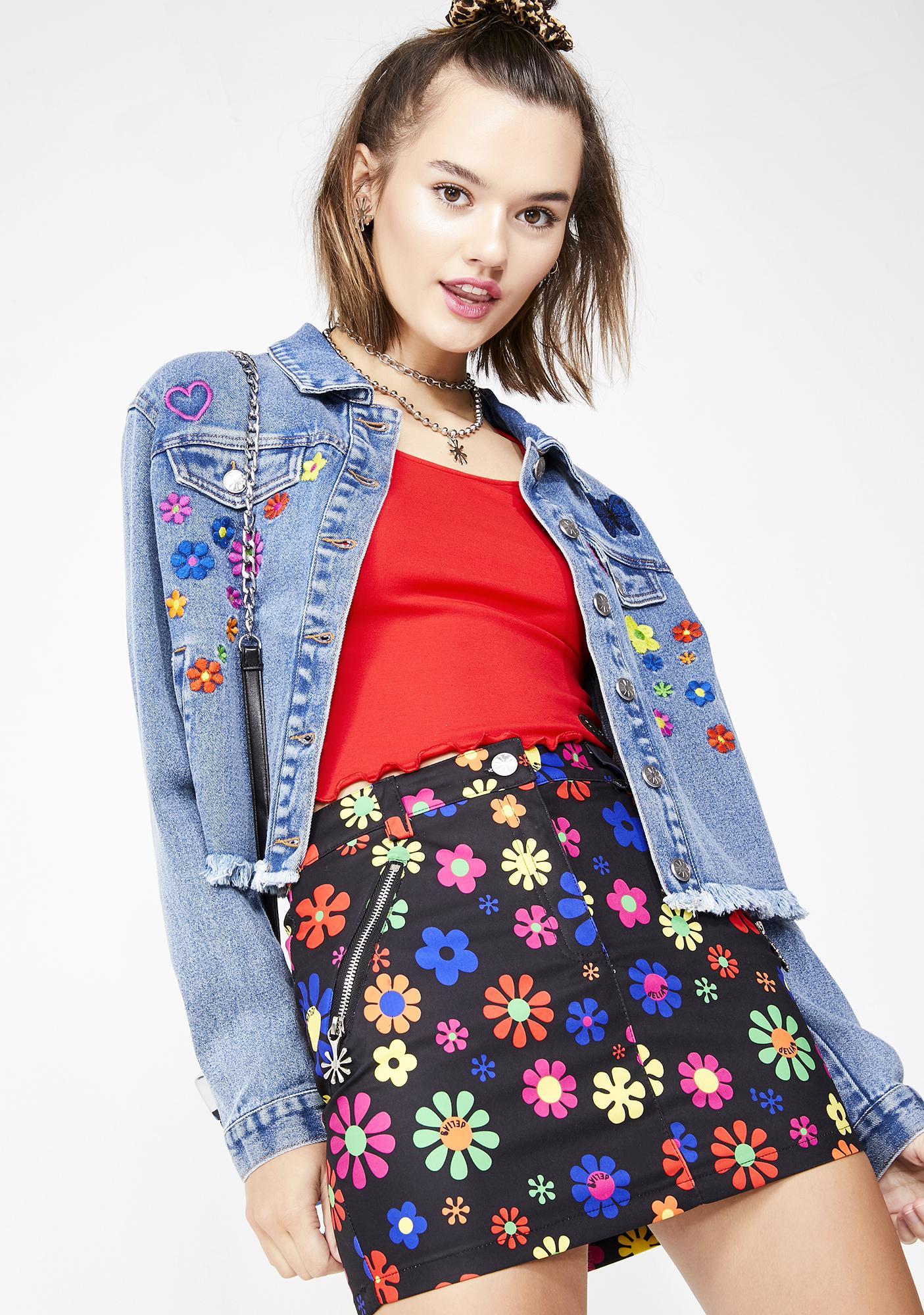 dELiA*s by Dolls Kill Flower Power Mini Skirt
