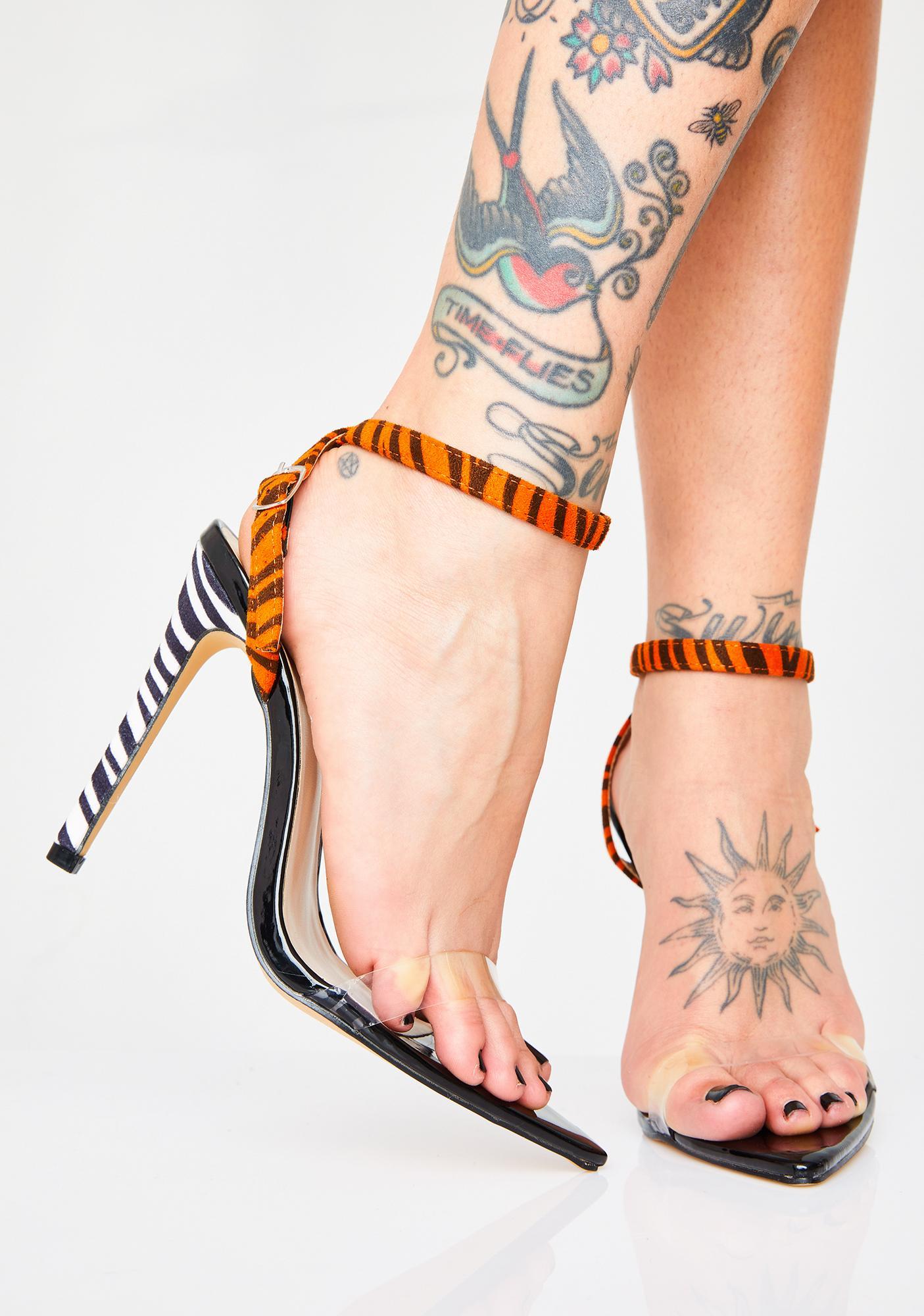 0fd2248d98531 Public Desire Safari Pointed Strappy Heels   Dolls Kill