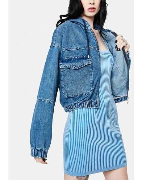 Patch Pocket Crop Denim Jacket