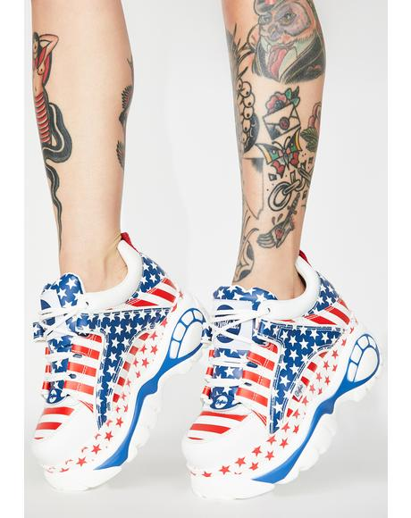 USA Flag Classic Low Leather Sneakers
