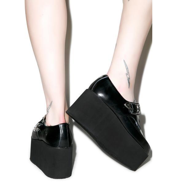 T.U.K. Leather Stacked Pointed Buckle Creepers