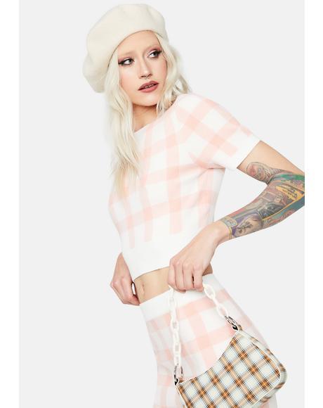 Rosy Cheeks Plaid Short Sleeve Crop Top