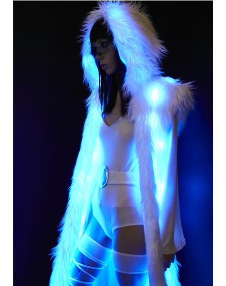 Blue Princess Light-Up Hooded Faux Fur Duster