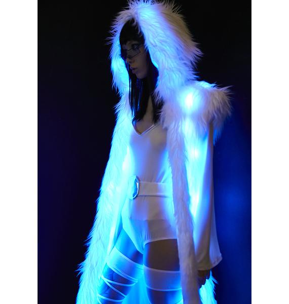 J Valentine Blue Princess Light-Up Hooded Faux Fur Duster
