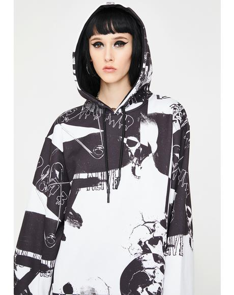 Punk Print Oversized Hoodie Dress