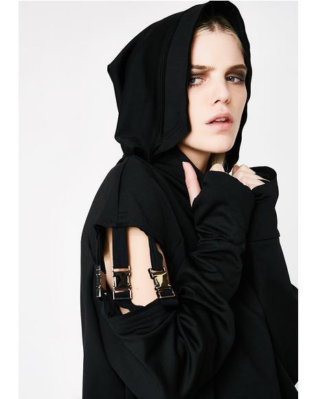 Punk Segmented Sleeve Hoodie