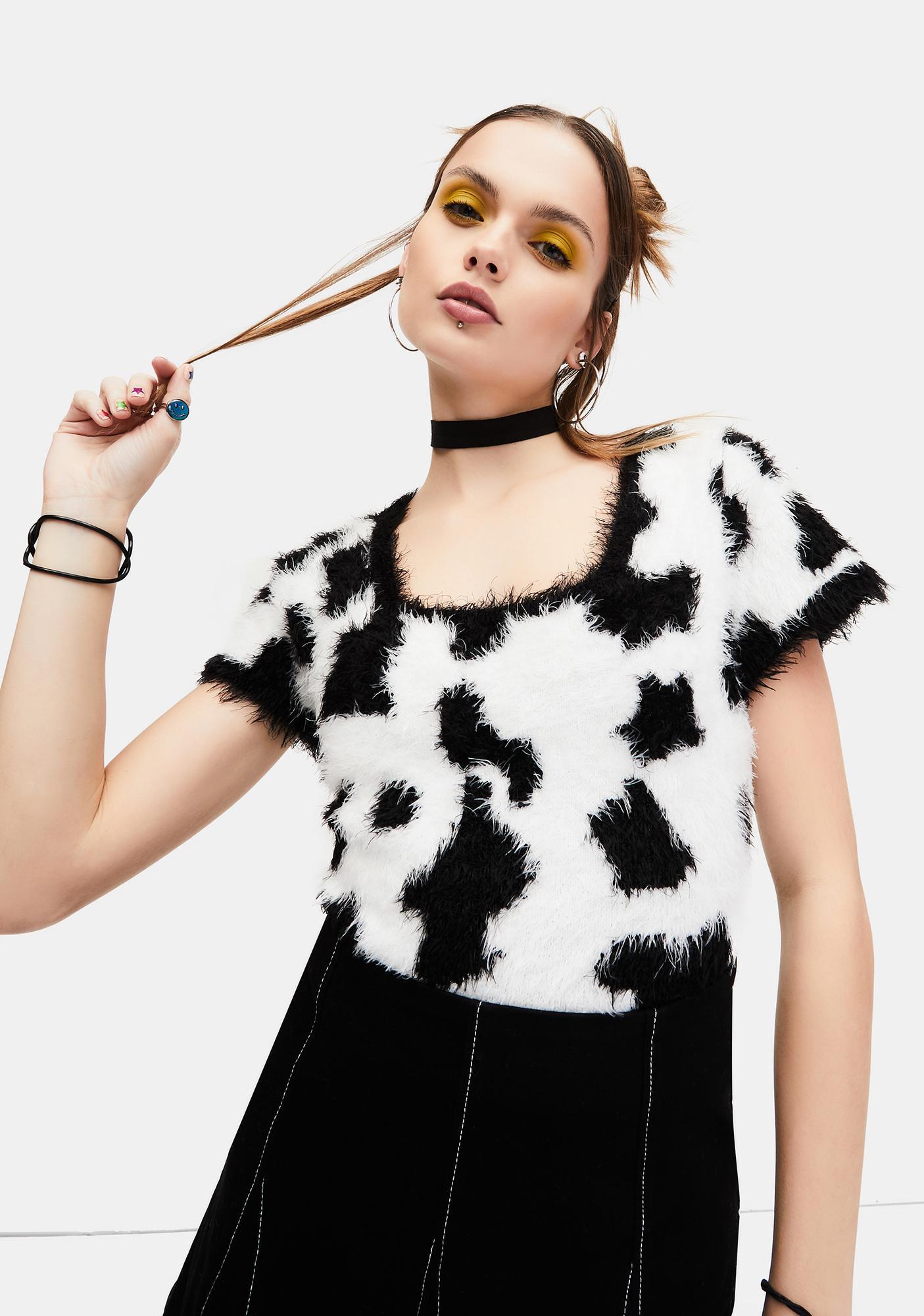 dELiA*s by Dolls Kill Cow Chic Fuzzy Sweater