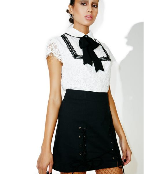 Not So Prim Lace-Up Skirt