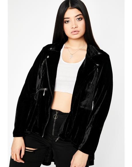 Got Highs N' Lows Velvet Moto Jacket