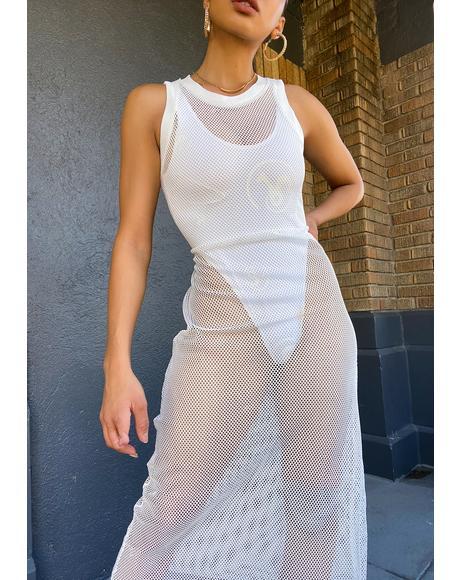 Mesh T-Shirt Midi Dress