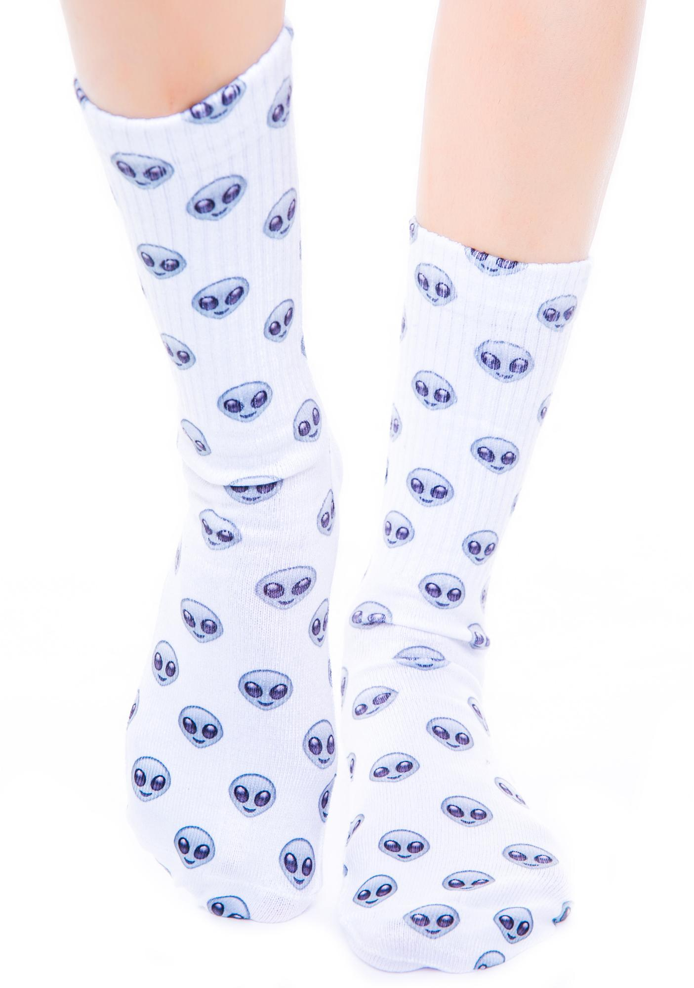 O Mighty Alien Emoji Socks