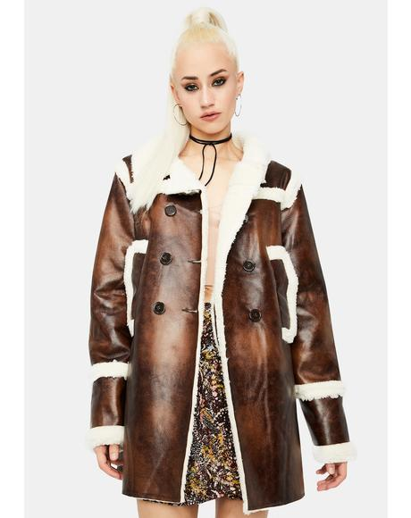 Dark Brown Faux Shearling Coat