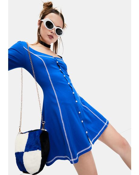 Plush Playtime Button Up Mini Dress