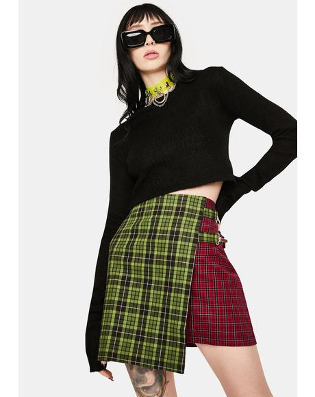 Disturb Plaid Wrap Skirt