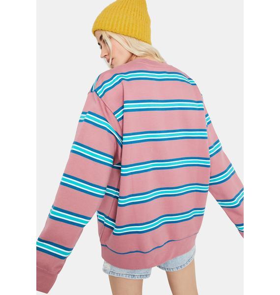 Obey Ideals Organic Striped Crew Sweatshirt