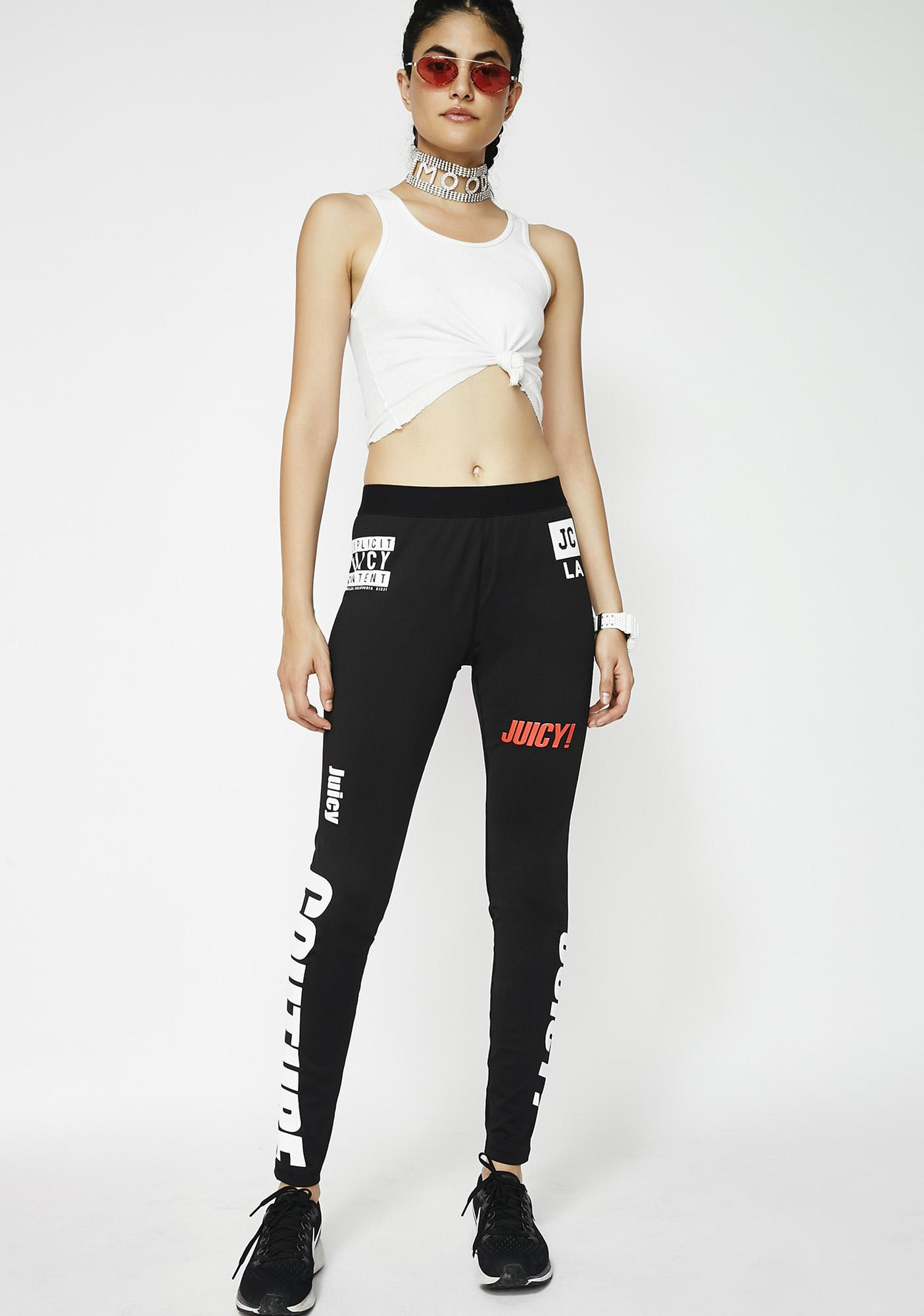 JUICY COUTURE Mixed Logos Sport Compression Leggings