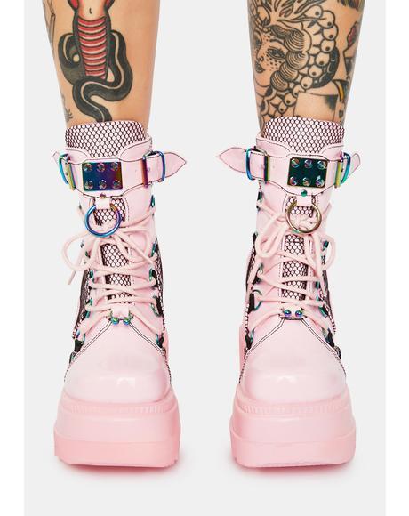 Pink Combat Technopagan Platform Boots