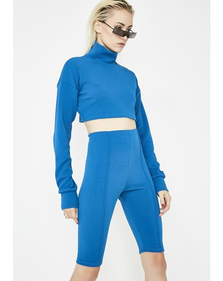 Cobalt Say Less Biker Shorts Set
