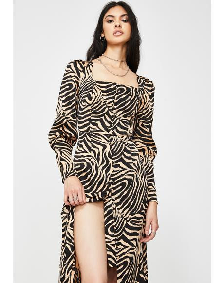Tan Zebra Long Sleeve Maxi Dress