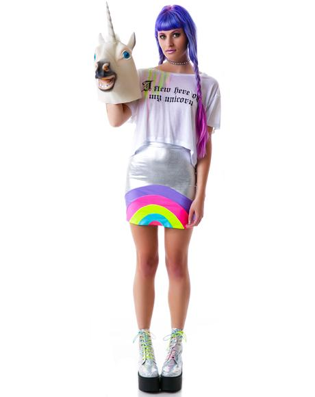 Unicorn Loose Crop Tee