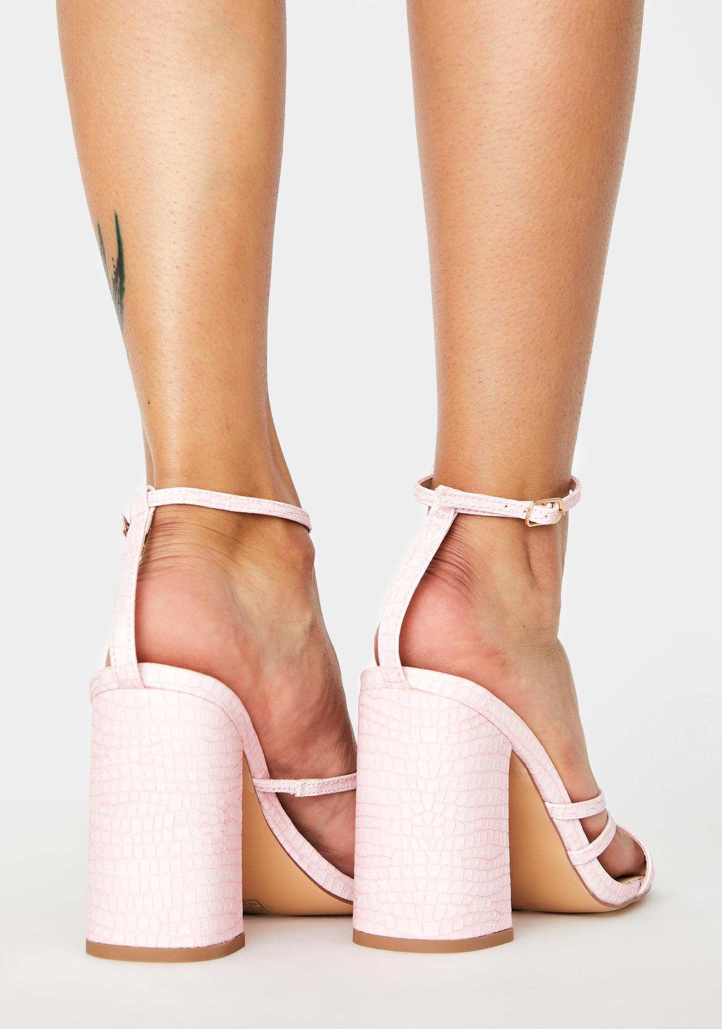 Public Desire Pink Snake Nina Block Heels