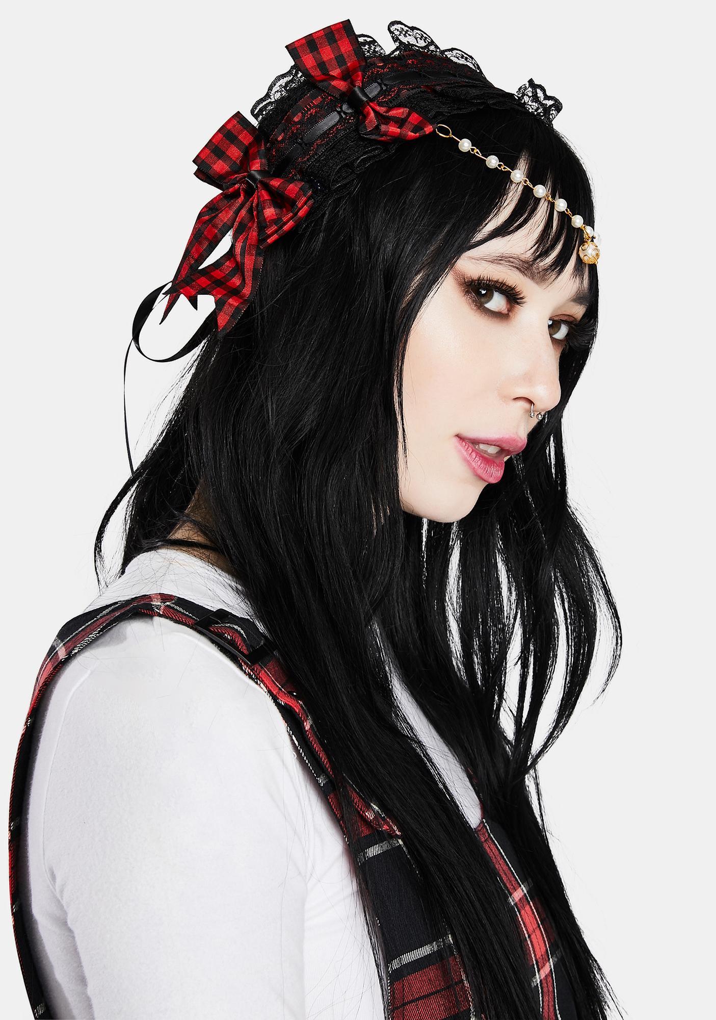 Pretty Punk Bow And Lace Headband