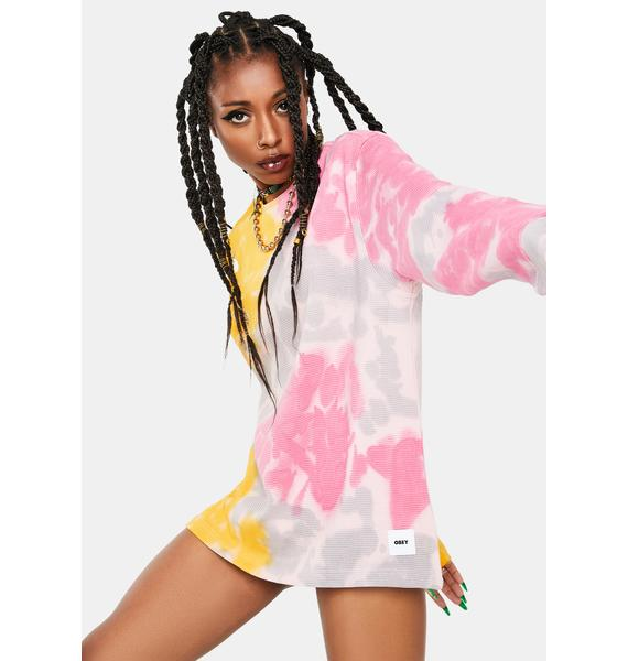 Obey Yellow Sustainable Tie Dye Thermal