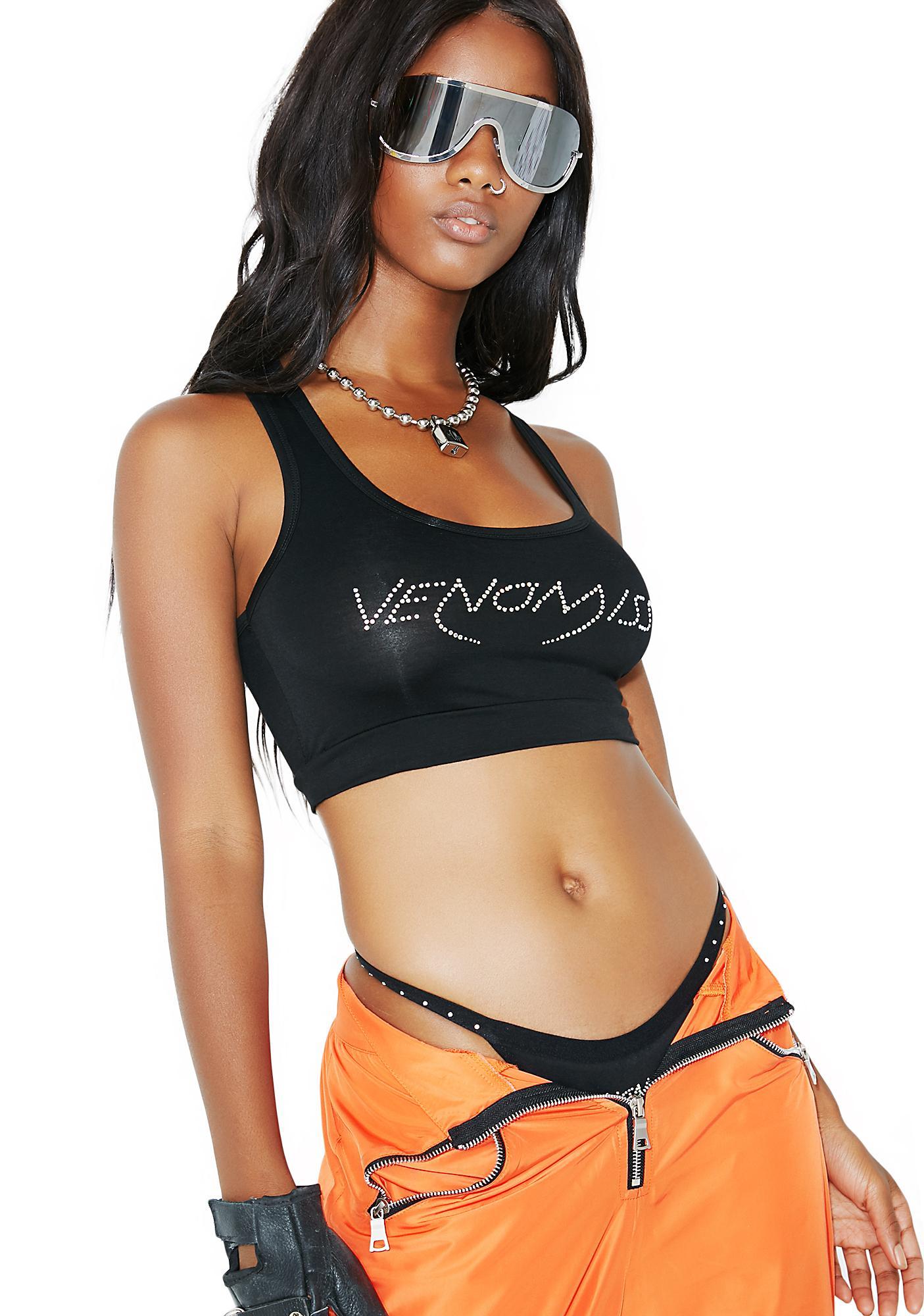 Venomiss NYC Black Crystal Logo Sports Bra