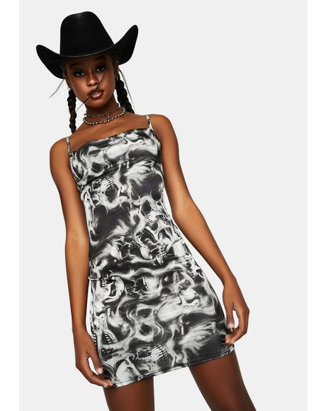 Skull Print Mini Dress