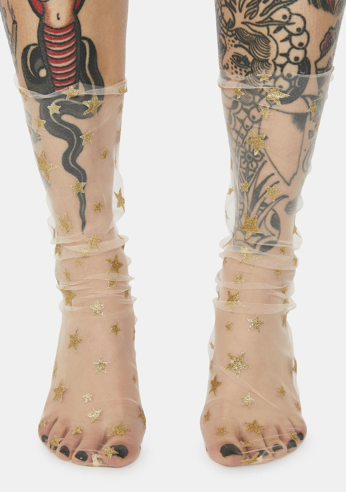 Nude Shinin' Star Sheer Socks