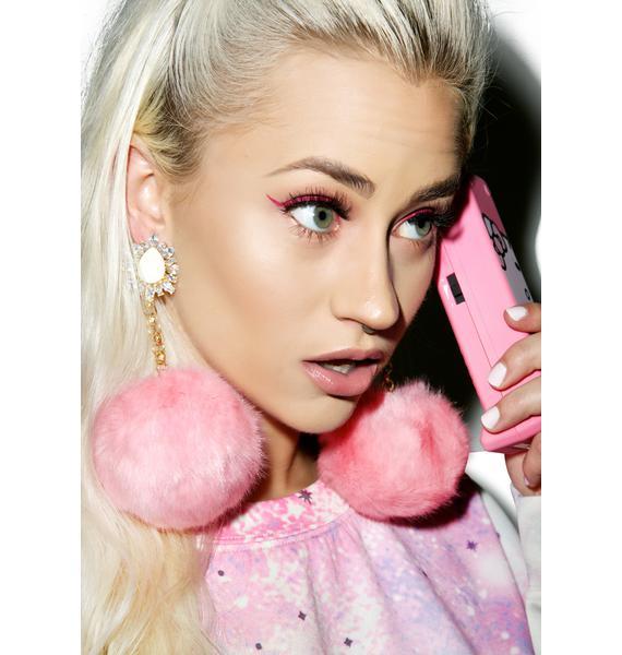 Rock n Rose Purrfect Pom-Pom Earrings