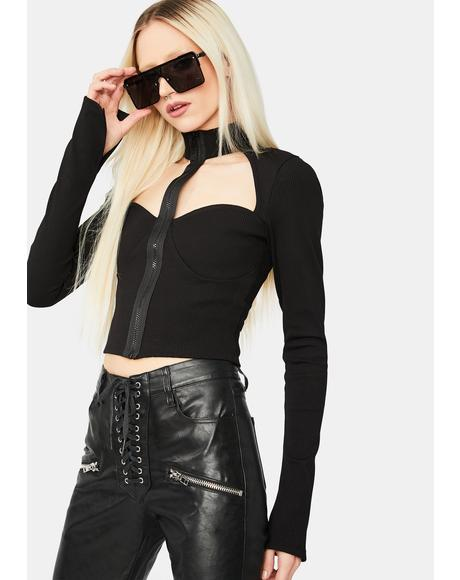 Noir Spy Lover Mock Neck Zip Up Crop Top