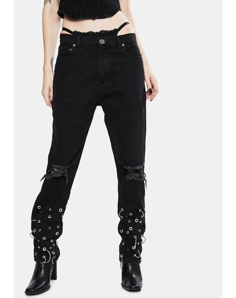 Grunge Rock Grommet Jeans